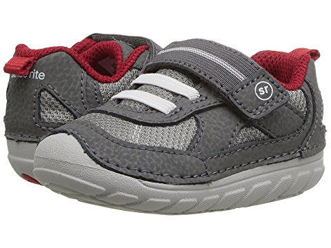 SM Jamie Sneaker by Stride Rite in Grey with Red Interior for Toddlers