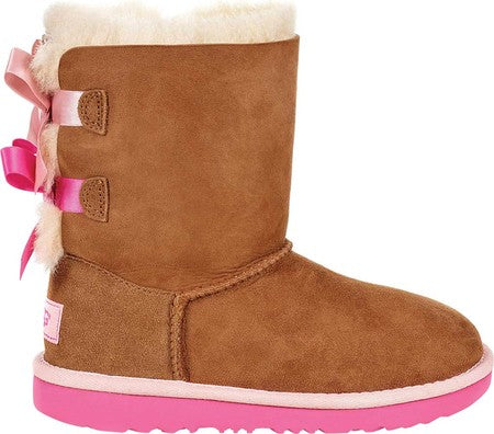 Ugg Kids Bailey Bow boot in Chestnut and Azalea