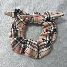 Load image into Gallery viewer, Beige Tartan Scrunchie with Bow