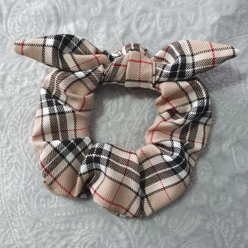 Beige Tartan Scrunchie with Bow