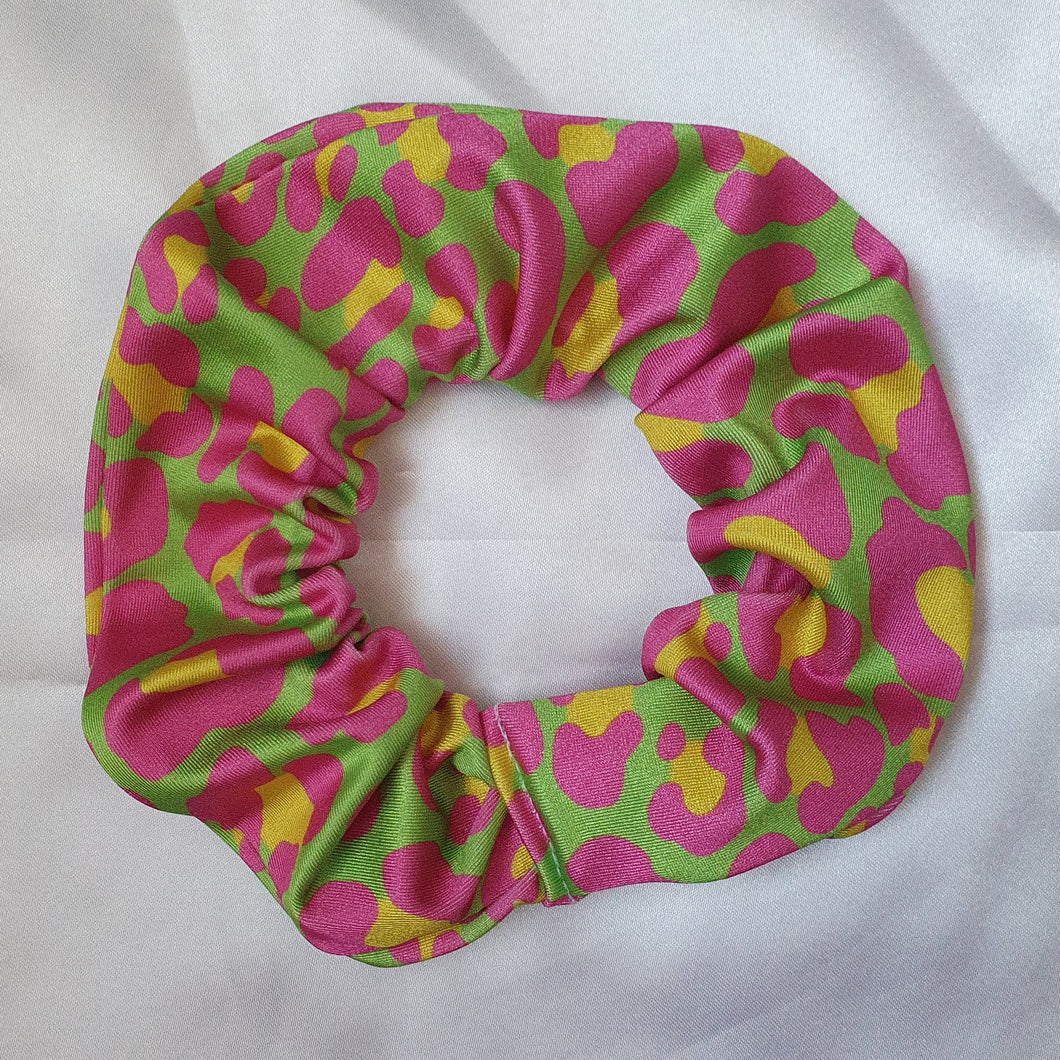 Lime and Pink Leopard Print Scrunchie