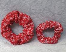Load image into Gallery viewer, Christmas Red Snowflake Scrunchie
