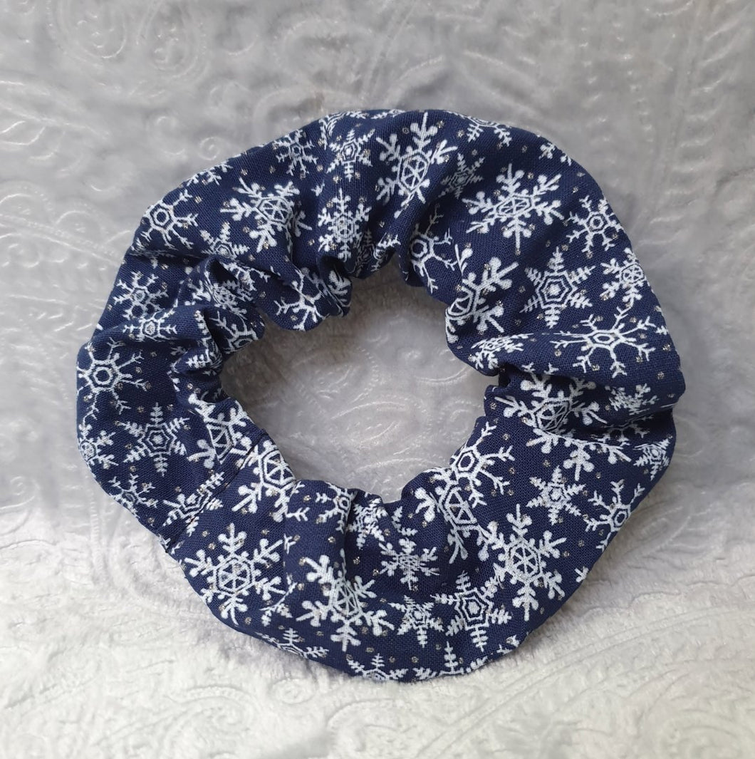 Christmas Navy Snowflake Scrunchie
