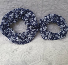 Load image into Gallery viewer, Christmas Navy Snowflake Scrunchie