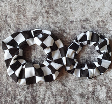 Load image into Gallery viewer, Black and White Check Scrunchie