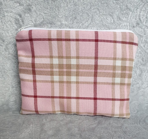 Pink Tartan Make Up Pouch