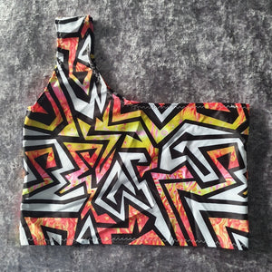 Abstract One Shoulder Crop Top Size XS