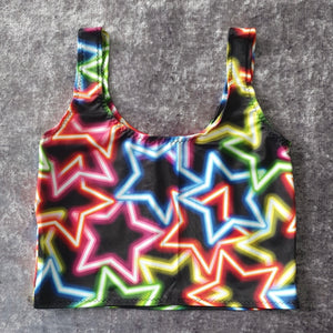 Neon Star Cami Crop Top Size XS