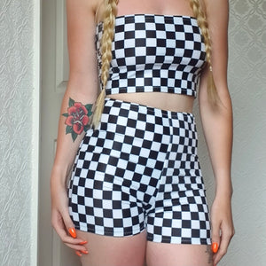 Black and White Check High Waisted Shorts