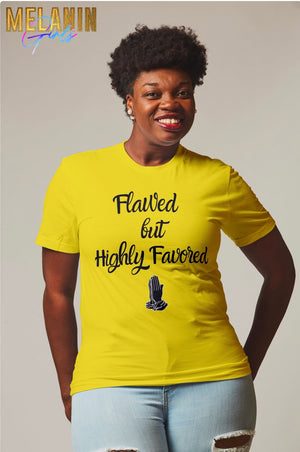 Highly Favored Unisex Short-Sleeve T-Shirt - S / Yellow/Black - M / Yellow/Black - L / Yellow/Black - XL / Yellow/Black - 2X / Yellow/Black - 3X / Yellow/Black - 4X / Yellow/Black