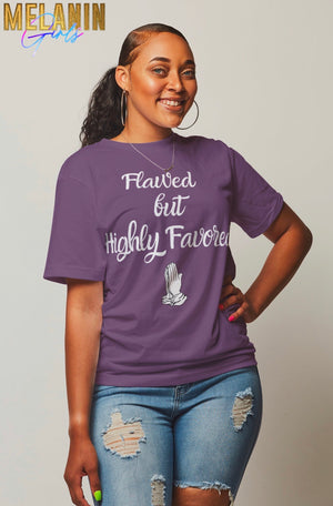 Highly Favored Unisex Short-Sleeve T-Shirt - S / Purple/White - M / Purple/White - L / Purple/White - XL / Purple/White - 2X / Purple/White - 3X / Purple/White - 4X / Purple/White
