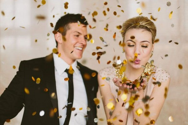 Couples Anniversary with Golden Confetti