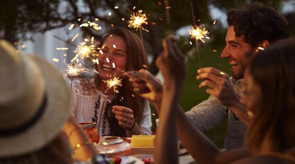 Back Yard BBQ with Sparklers