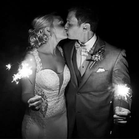 Newly Weds Kissing Holding 10 Inch Sparklers