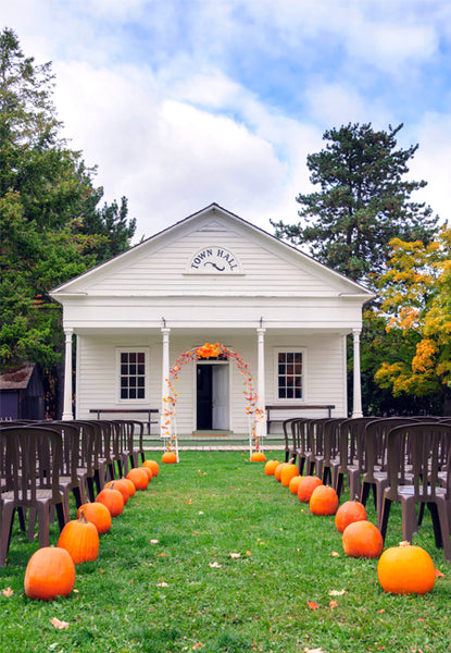Pumpkins in Isle Leading up to Church Wedding