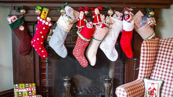 stockings hanging over a fireplace