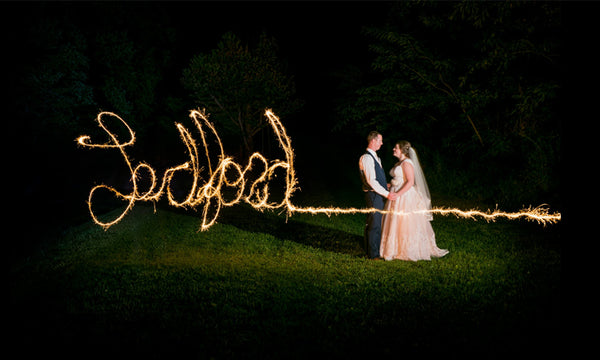 Writing Names With Wedding Sparklers