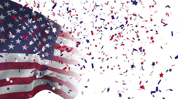 American flag with confetti