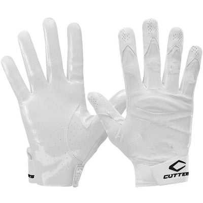 White Rev Pro 4.0 Solid Football Receiver Gloves - Front and Back View