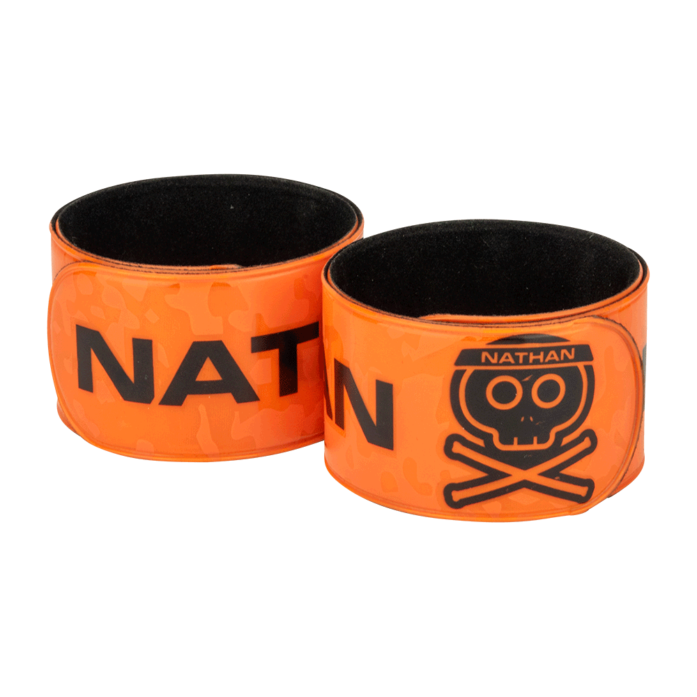 Nathan Orange Reflective Slap Band - Arm Wrapped - Roadkiller