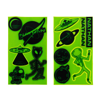 Nathan Yellow Reflective Visibility Sticker Packs - Aliens and Galaxy