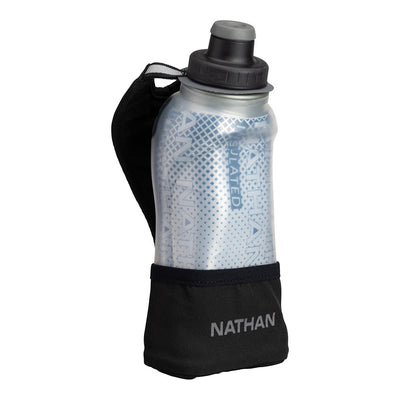 NATHAN QuickSqueeze Lite 12oz Insulated Hydration Handheld - Finish Lime/Blue Me Away - Front of Handheld