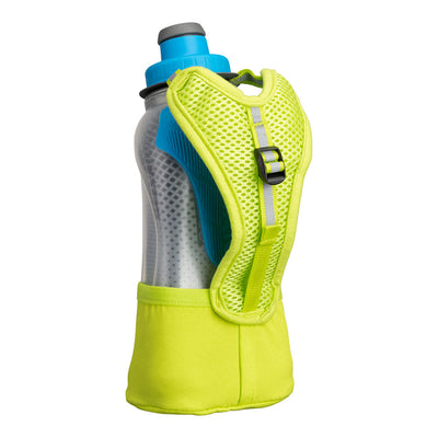 NATHAN QuickSqueeze Lite 12oz Insulated Hydration Handheld - Finish Lime/Blue Me Away - Back of Handheld with Strap