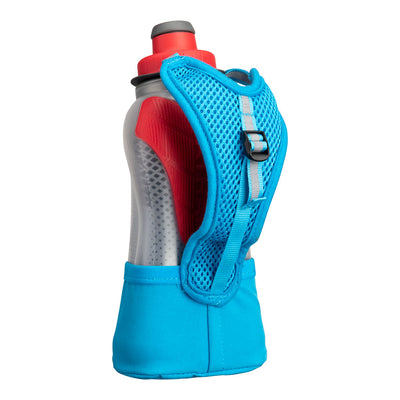 NATHAN QuickSqueeze Lite 12oz Insulated Hydration Handheld - Blue Me Away/Hibiscus Red - Back of Handheld with Strap