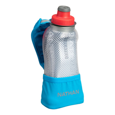 NATHAN QuickSqueeze Lite 12oz Insulated Hydration Handheld - Blue Me Away/Hibiscus Red - Front of Handheld