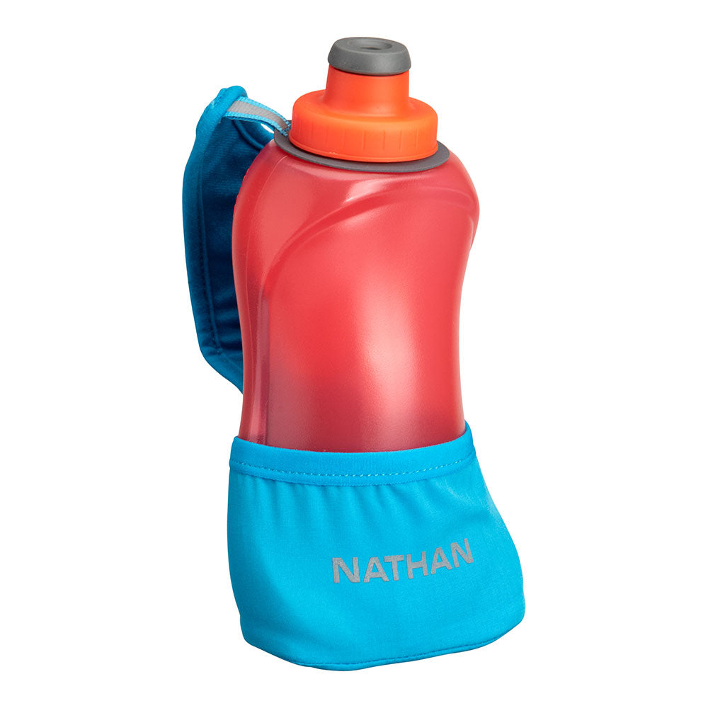NATHAN QuickSqueeze Lite 18oz Hydration Handheld - Blue Me Away/Hibiscus Red - Front View