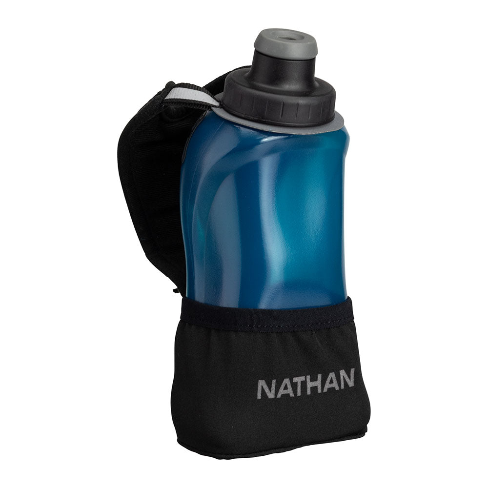 NATHAN QuickSqueeze Lite 12oz Hydration Handheld - Black/Marine Blue - Front of Handheld