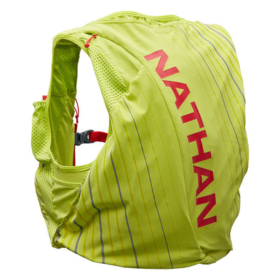 NATHAN Pinnacle 12 Liter Women's Hydration Race Vest - Finish Lime/Hibiscus - Back of Pack