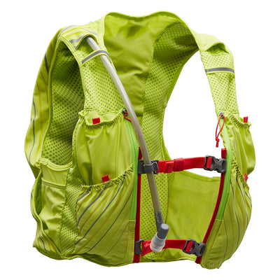 NATHAN Pinnacle 12 Liter Women's Hydration Race Vest - Finish Lime/Hibiscus - Front of Pack