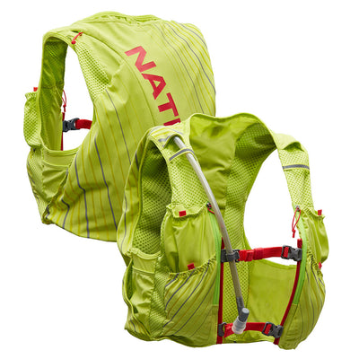 NATHAN Pinnacle 12 Liter Women's Hydration Race Vest - Finish Lime/Hibiscus - Front & Back of Pack
