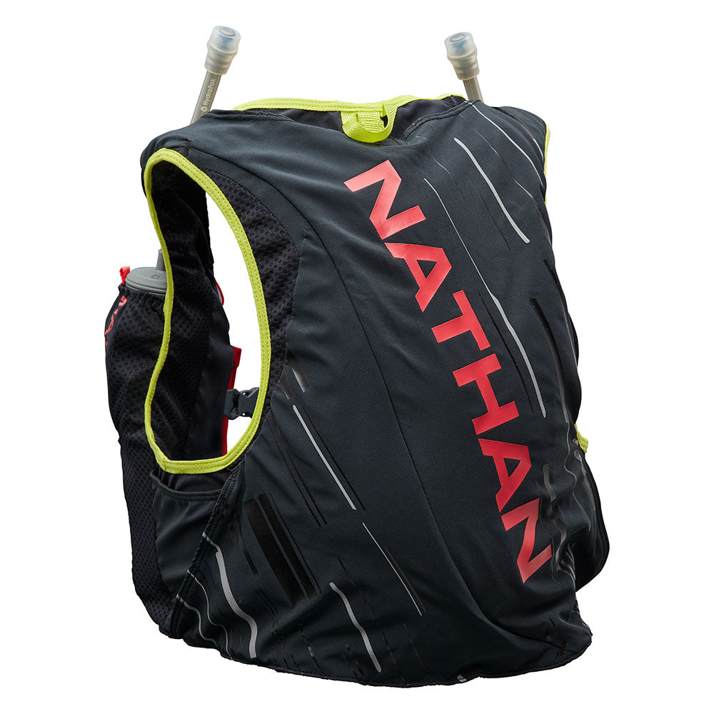 NATHAN Pinnacle 4 Liter Women's Hydration Race Vest - Black/Hibiscus Red - Back of Pack
