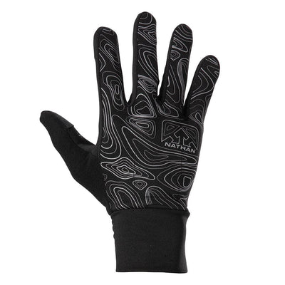 NATHAN Men's Black Reflective Gloves with Topography Design - Back of Glove View