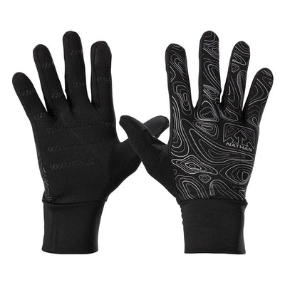 NATHAN Men's Black Reflective Gloves with Topography Design - Front and Back View Of Gloves