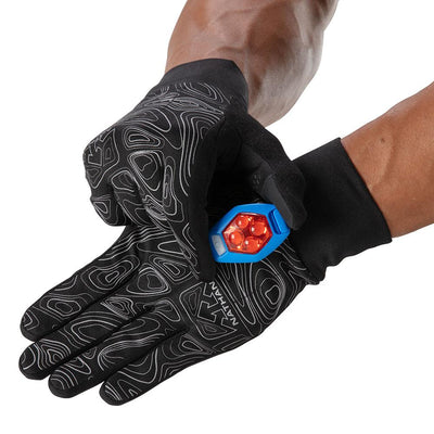 Runner clipping on Flash Light on NATHAN Men's Black Reflective Gloves with Topography Design