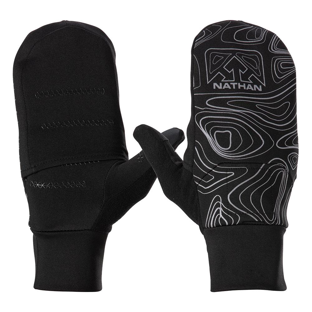 NATHAN Men's Black Reflective Convertible Glove & Mitt with Topography Design - Front and Back View Of Gloves