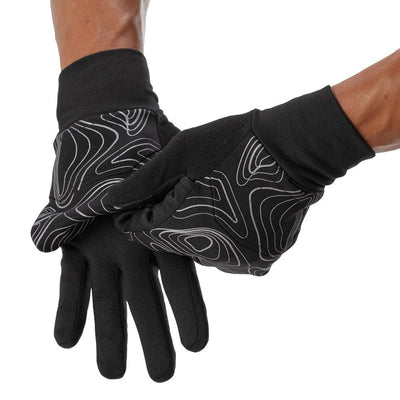 NATHAN Men's Black Reflective Convertible Glove & Mitt with Topography Design - Runner Pulling Back Mitt to Show Glove