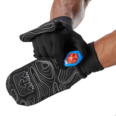 NATHAN Men's Black Reflective Convertible Glove & Mitt with Topography Design - Runner Adjusting Flash Light Clip on Glove