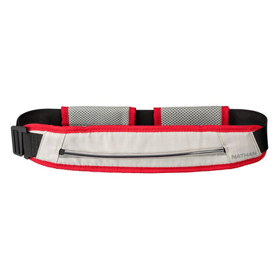 Nathan K9 White-Red Runner's Waist Belt without Red Dog Leash  - Front Hero View
