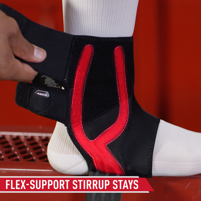 McDavid Phantom Ankle Brace 4303 - Tech Callout of Vertical Stays on Ankle - Highlighted in RED