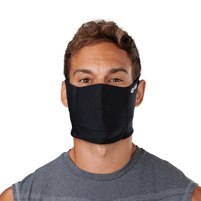 Black Play Safe Face Mask - Model Wearing Protective Safety Face Mask - Front Angle