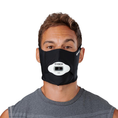 Black Play Safe Face Mask – Male Model Wearing Protective Safety Face Mask with Max AirFlow Football Mouthguard - Front Angle