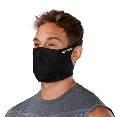 Black Play Safe Face Mask – Male Model Wearing Protective Safety Face Mask - Left Angle