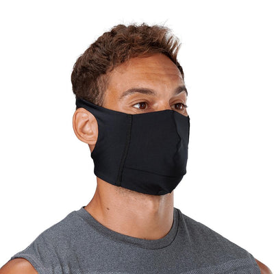 Black Play Safe Face Mask – Male Model Wearing Protective Safety Face Mask - Right Angle