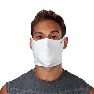 White Play Safe Face Mask – Male Model Wearing Protective Safety Face Mask - Front Angle
