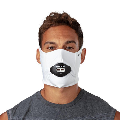 White Play Safe Face Mask – Male Model Wearing Protective Safety Face Mask with Max AirFlow Football Mouthguard - Front Angle