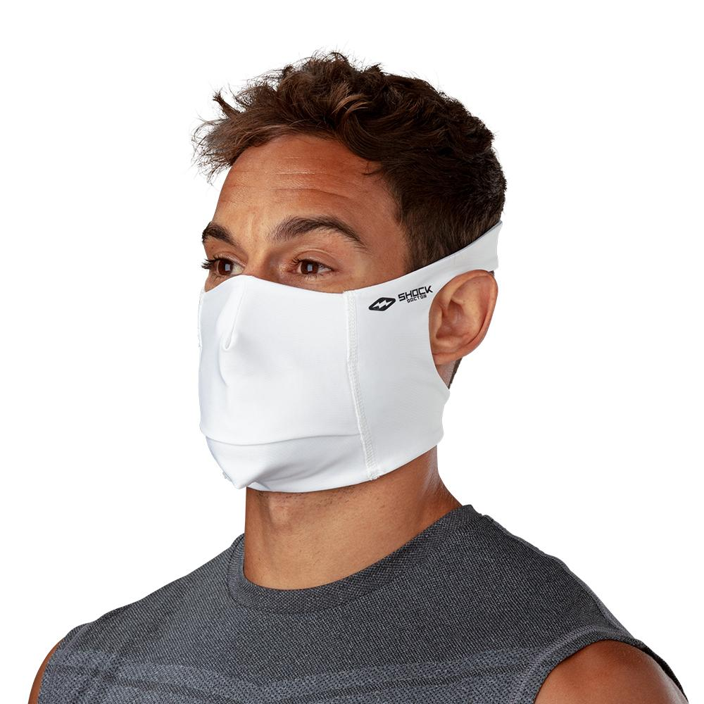 White Play Safe Face Mask – Male Model Wearing Protective Safety Face Mask - Left Angle